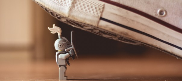 Underestimated - Lego Knight Standing Up To Giant Shoe